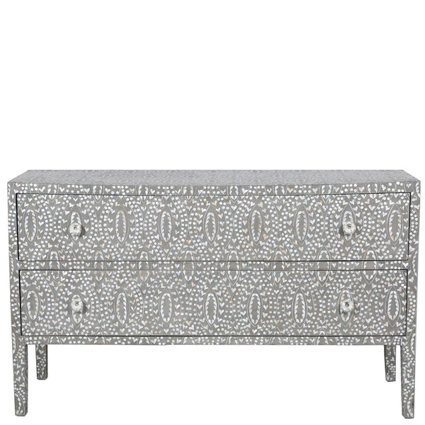 MOP Inlay 2-Drawer Chest - Classic Vine - Grey