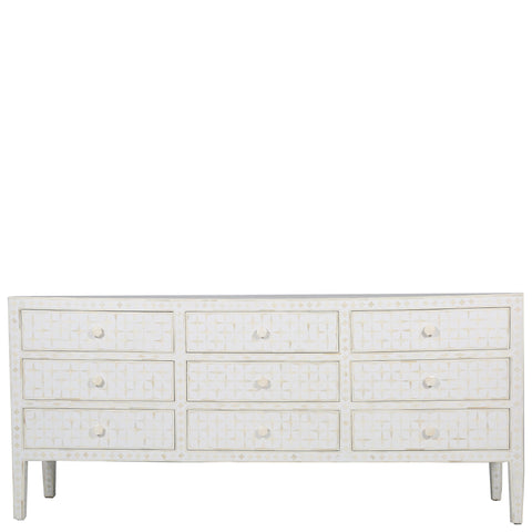 <b>SECONDS SALE</b> Bone Inlay 9-Drawer Chest - Starburst - White