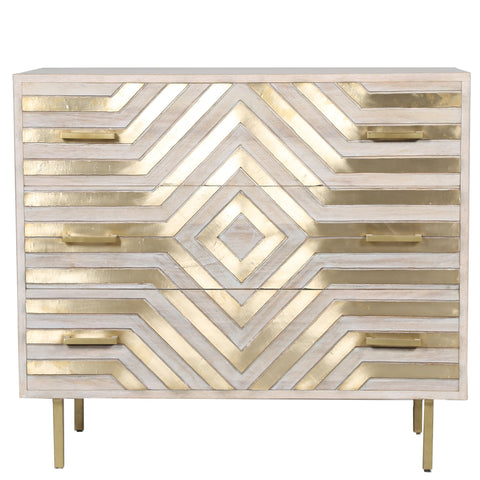 Whitewash and Brass Mounted 3-Drawer Chest - White  Brass
