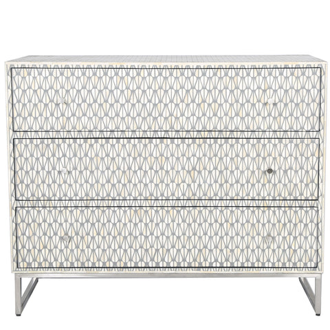 Bone Inlay 3-Drawer Chest - Lantern - Grey