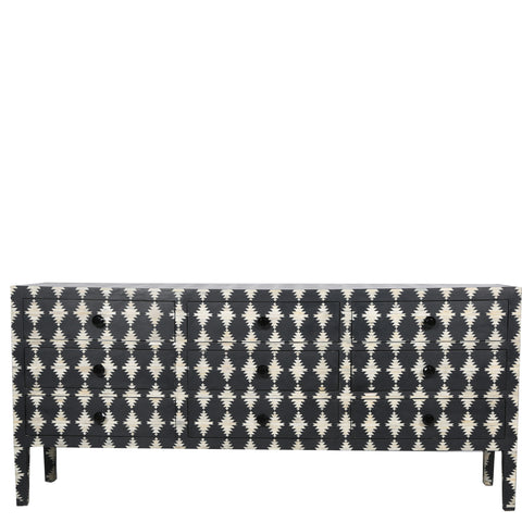 "<span style=""color: #f05574;""><b>Seconds Sale</b></span> Bone Inlay 9-Drawer Chest - Diamond - Black"