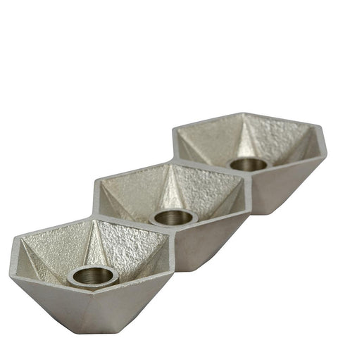 Honeycomb Candleholder - Triple - Nickel