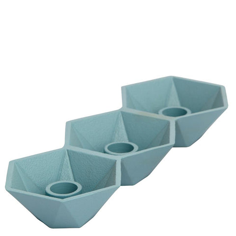 Honeycomb Candleholder - Triple - Blue