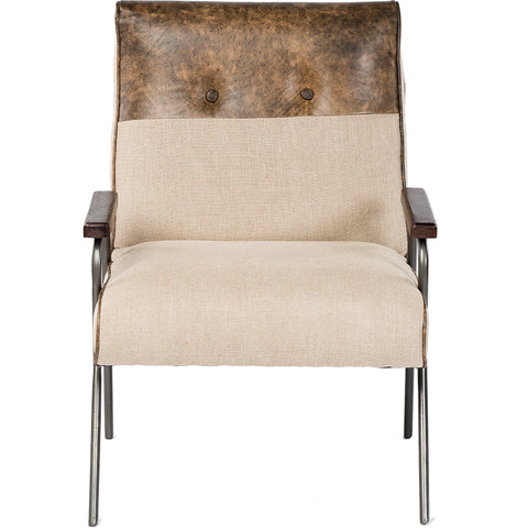 Leather / Linen Armchair - Natural