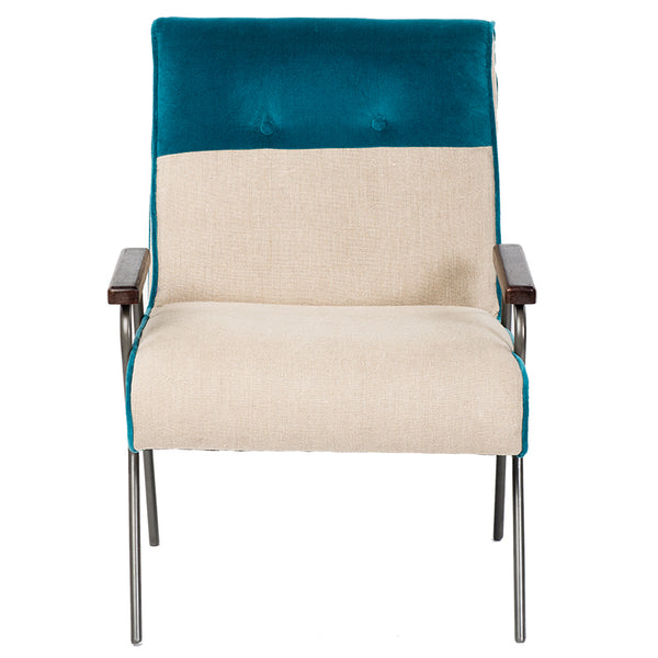 Velvet / Linen Armchair - Natural / Dark Blue