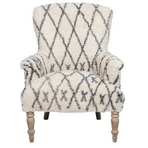 Classic Armchair - Diamond Rug - White / Grey