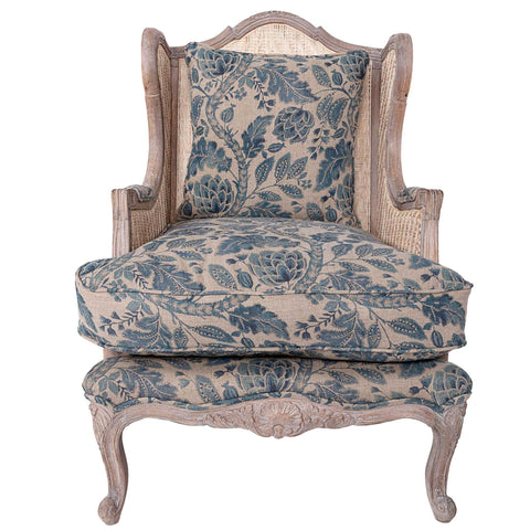 "<span style=""color: #f05574;""><b>Seconds Sale</b></span> Rattan Armchair - Pomegranate - Natural / Slate Blue"