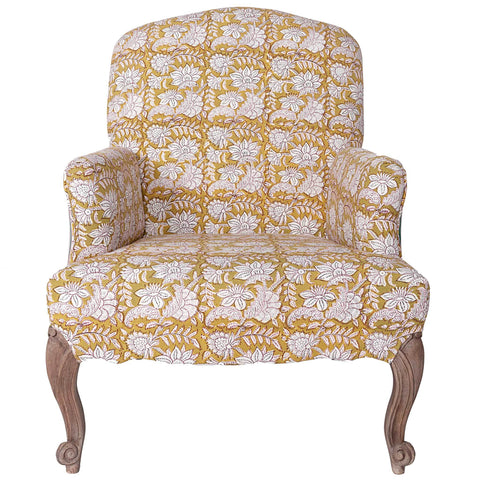 Block-Printed Armchair - Chartreuse / Green