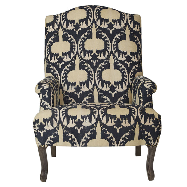 Ikat Corduroy Armchair - Gold / Ink
