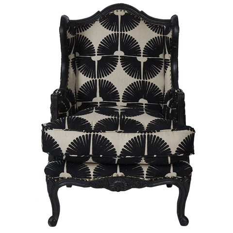 Chainstitch Upholstered Armchair - Natural / Black