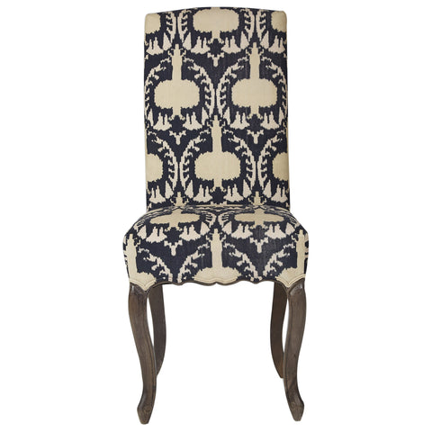 Ikat Velvet Upholstered Dining Chair - Gold / Black