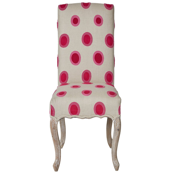 Chainstitch Upholstered Dining Chair - Pink / Orange