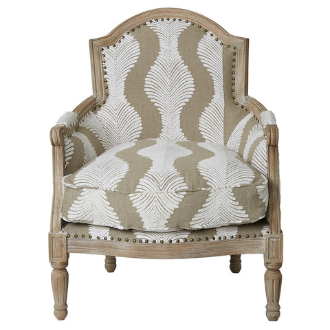 Jaipur Chair - Chainstitch Embroidery - Natural / White