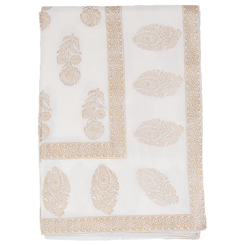 Block Printed Tablecloth - Bouti - White