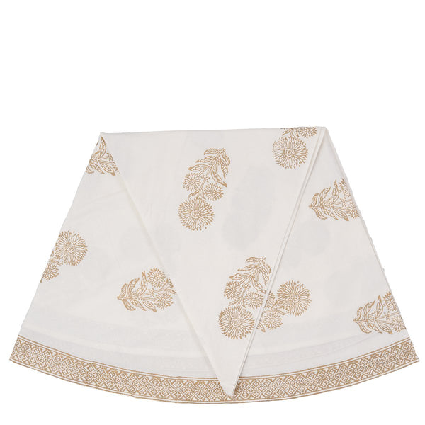 Block Printed Tablecloth - Bouti - Round - White / Gold