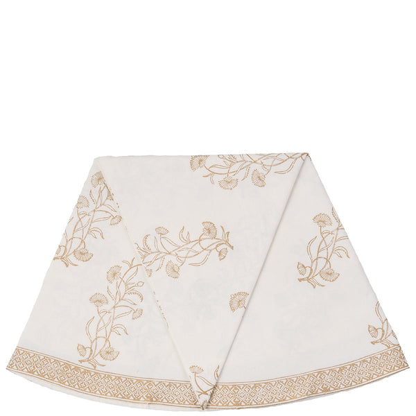 Block Printed Tablecloth - Floral - Round - White / Gold