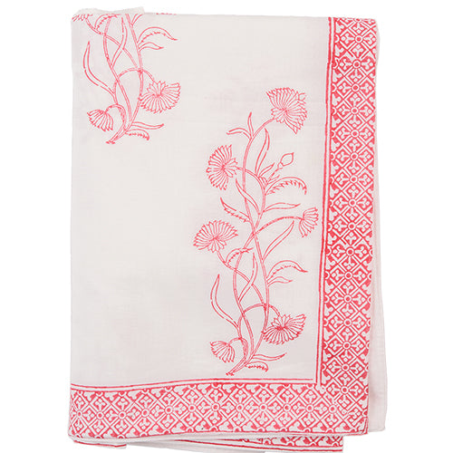 Block Printed Tablecloth - Floral - White / Red