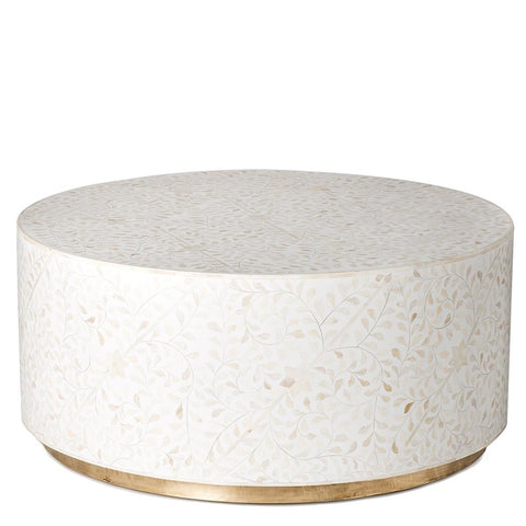 Floral Bone Inlay Round Coffee Table - White