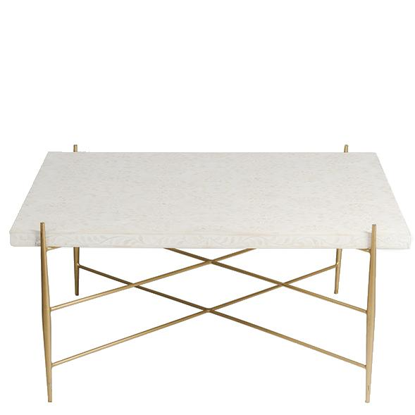 Starburst Bone / Brass Inlay Coffee Table - White