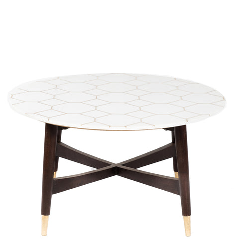 Brass Inlay Marble Coffee Table - White