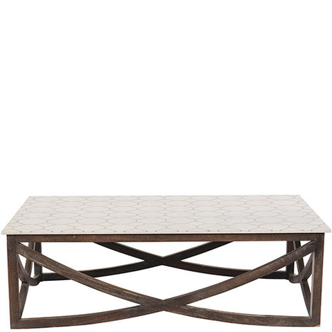 Marble & Brass Inlay Coffee Table - White