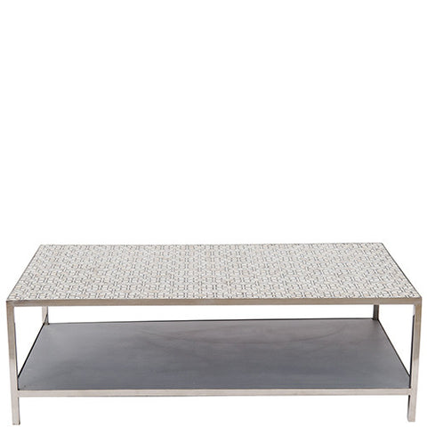 MOP Inlay Coffee Table - Modern Geometric - Grey