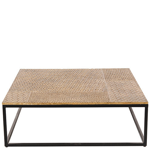 Iron Coffee Table with Hammered Brass Top - Brass