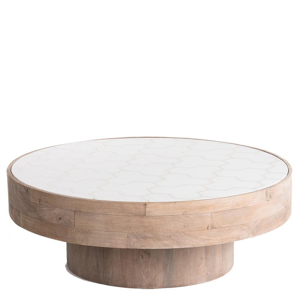 Timber / Marble Coffee Table - Natural / White