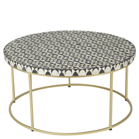 Bone Inlay Round Coffee Table - Wine Glass - Black / White