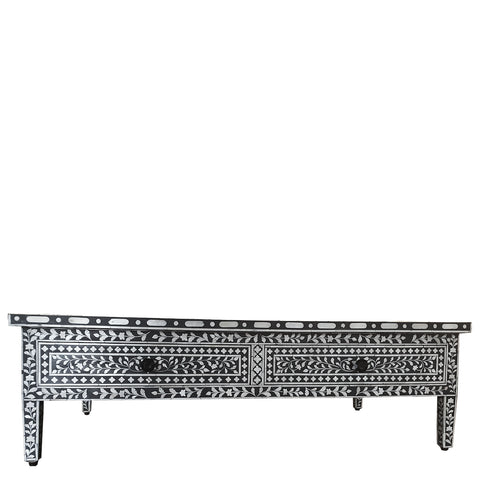 Bone Inlay Coffee Table with Drawers - Floral