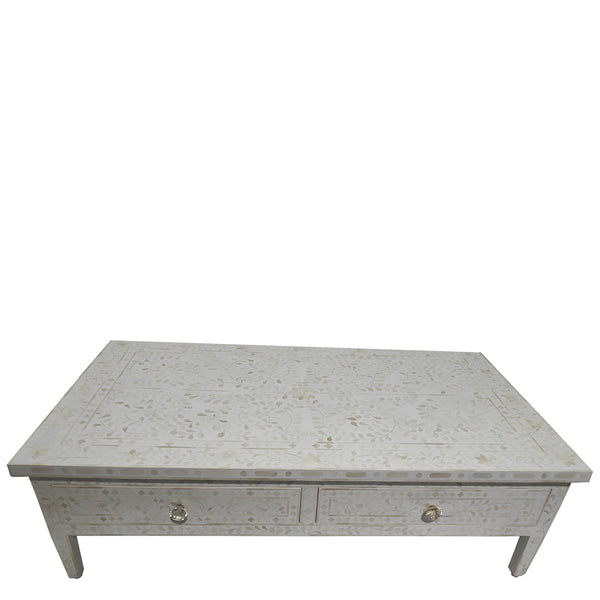 Bone Inlay Coffee Table with Drawers - Floral - White