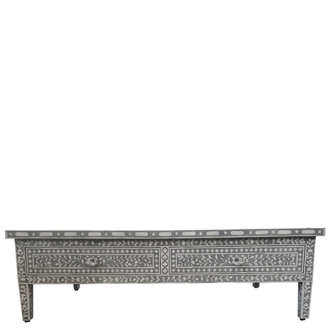 Bone Inlay Coffee Table with Drawers - Floral - Grey
