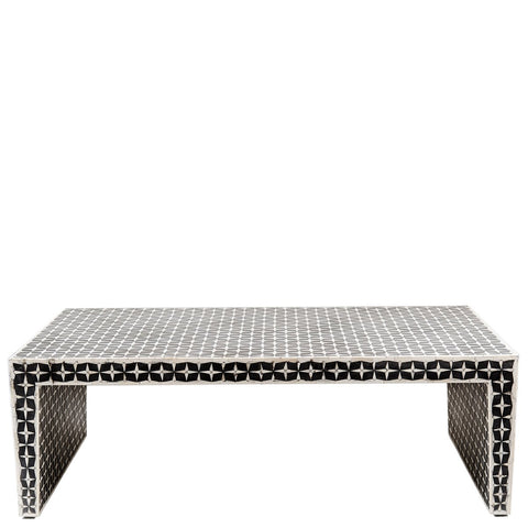 Bone Inlay Coffee Table - Geometric - Black