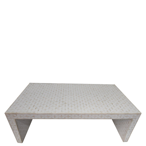 Bone Inlay Coffee Table - Geometric - White