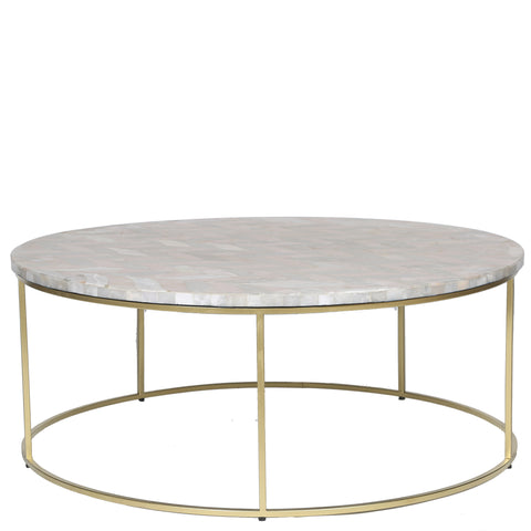 Round Stone Inlay Coffee Table - Pale Pink