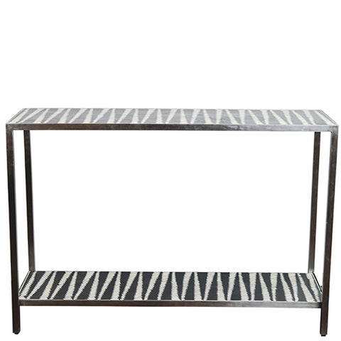 Malawi Bone Inlay Console - Black / White