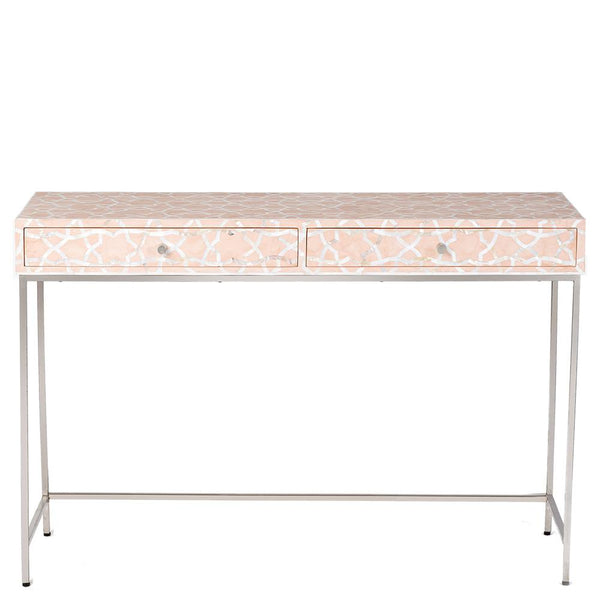 Fez Mother of Pearl Inlay Console - Pale Pink
