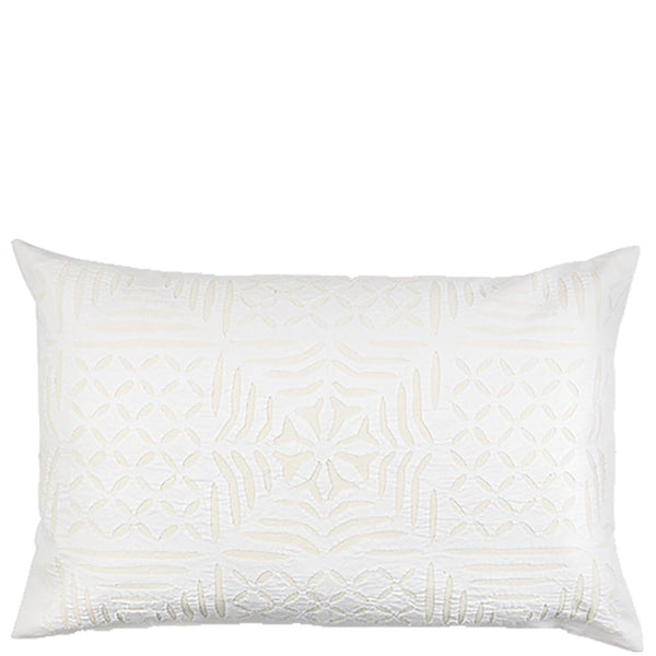 Cut Work Pillow Case - Squares - White