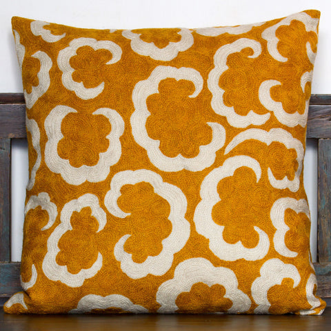 Chainstitch Clouds Cushion - Yellow / White