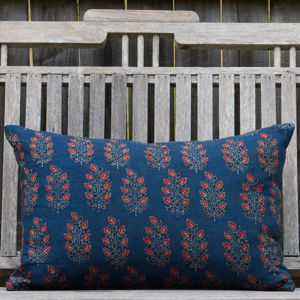 Ajrak Printed Bouti Cushion - Indigo / Rust
