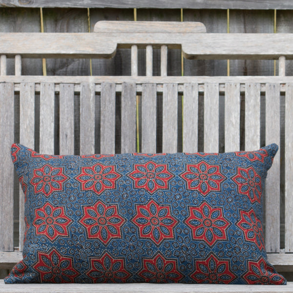 Ajrak Printed Star Cushion - Indigo / Rust