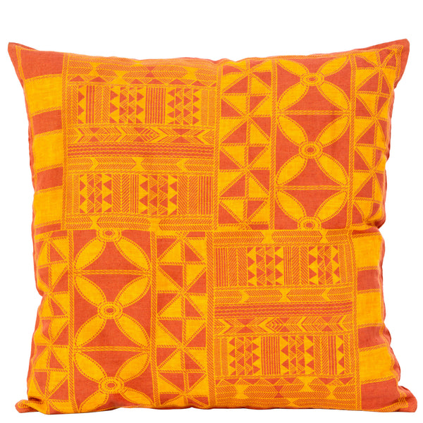 Tribal  Geometric Cushion - Rust / Mustard