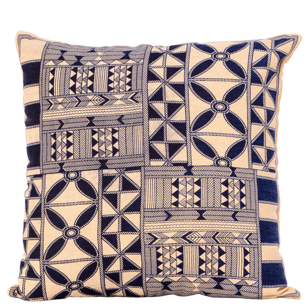 Tribal  Geometric Cushion - Mustard / Indigo