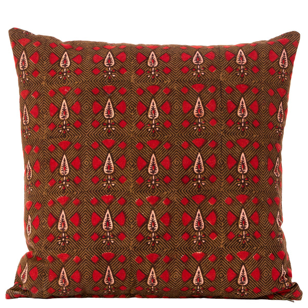 Dabu Cushion - Leaf - Brown / Rust