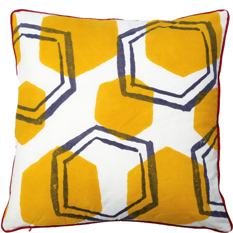 Abstract Cushion - Honeycomb - Yellow / Slate Blue
