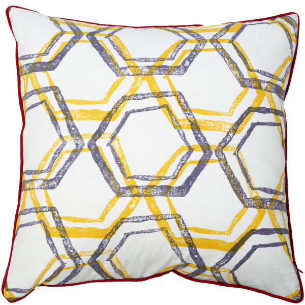 Abstract Cushion - Jali - Yellow / Slate Blue