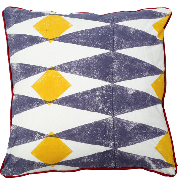 Abstract Cushion - Jester - Slate Blue / Yellow