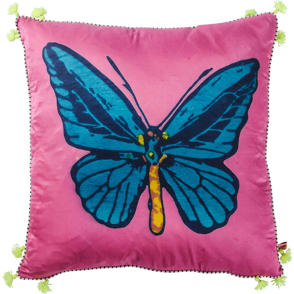 Jewel Silk Cushion - Butterfly - Pink / Royal Blue