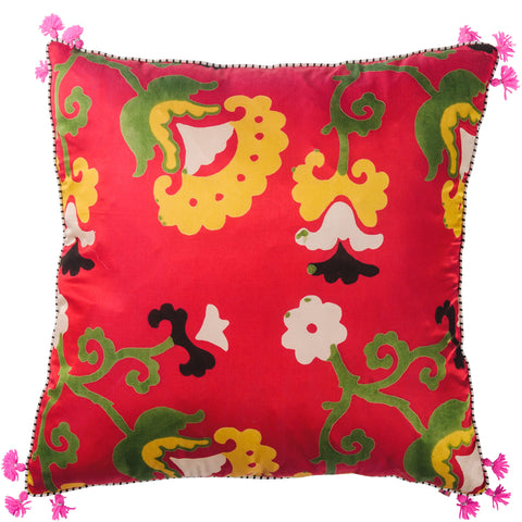 Jewel Silk Cushion - Tashkent - Red / Jade
