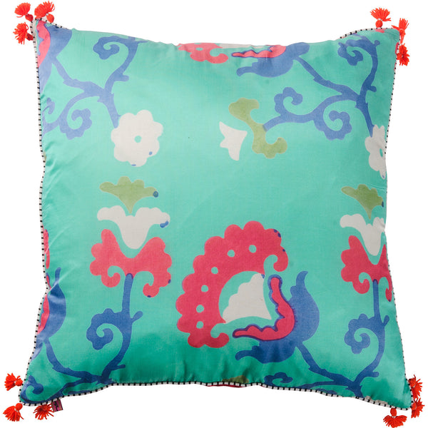 Jewel Silk Cushion - Tashkent - Jade / Red